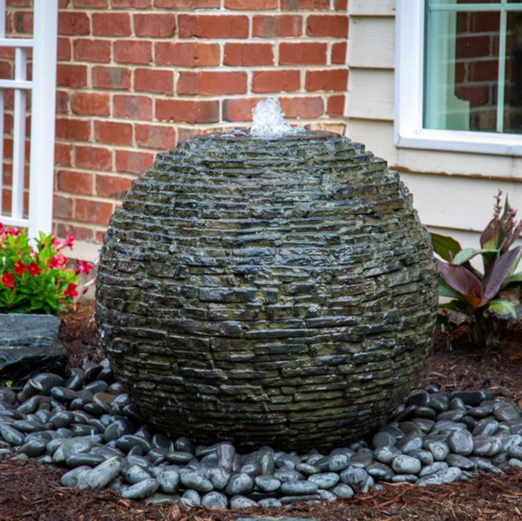 Aquascape Stacked Slate Sphere Urn – Medium Landscape ...